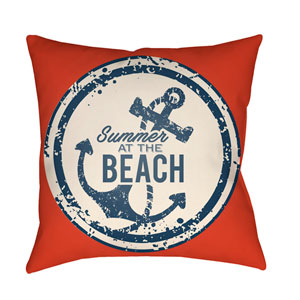 Litchfield Anchor Poppy Red and Ivory 16 x 16 In. Pillow with Poly Fill