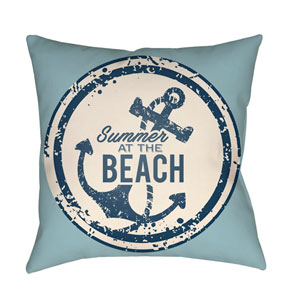 Litchfield Anchor Light Blue and Ivory 16 x 16 In. Pillow with Poly Fill