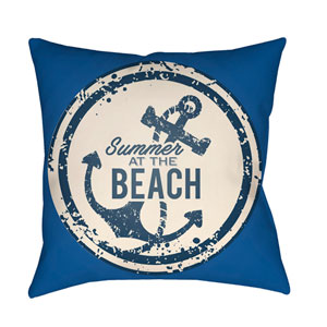 Litchfield Anchor Royal Blue and Ivory 18 x 18 In. Pillow with Poly Fill