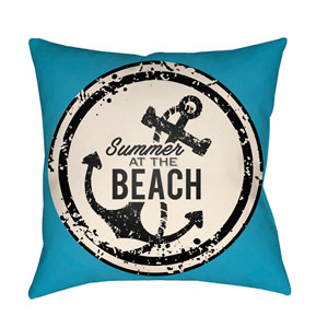 Litchfield Anchor Aqua and Ivory 16 x 16 In. Pillow with Poly Fill