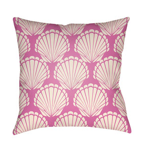 Litchfield Shell Fuchsia and Ivory 18 x 18 In. Pillow with Poly Fill
