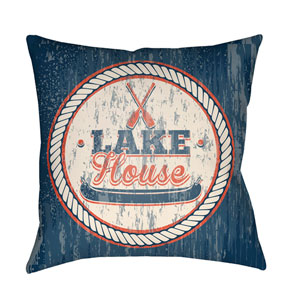 Litchfield Lake Navy Blue and Poppy Red 16 x 16 In. Pillow with Poly Fill