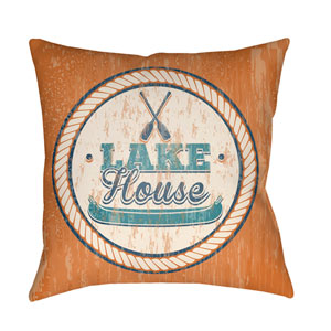 Litchfield Lake Bright Orange and Teal 16 x 16 In. Pillow with Poly Fill