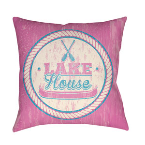 Litchfield Lake Fuchsia and Aqua 18 x 18 In. Pillow with Poly Fill
