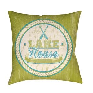 Litchfield Lake Lime Green and Aqua 18 x 18 In. Pillow with Poly Fill