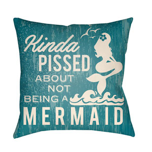 Litchfield Mermaid Teal and Ivory 16 x 16 In. Pillow with Poly Fill