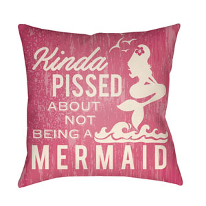 Litchfield Mermaid Hot Pink and Ivory 22 x 22 In. Pillow with Poly Fill