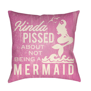 Litchfield Mermaid Fuchsia and Ivory 18 x 18 In. Pillow with Poly Fill