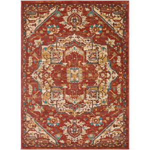 Nicea Ameilia Crimson Red and Teal Rectangular: 2 Ft. x 3 Ft. Rug