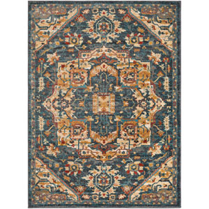 Nicea Ameilia Teal and Charcoal Rectangular: 6 Ft. 7-Inch x 9 Ft. 6-Inch Rug