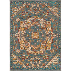 Nicea Ameilia Teal and Charcoal Rectangular: 5 Ft. 3-Inch x 7 Ft. 3-Inch Rug