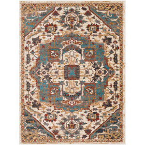 Nicea Ameilia Teal and Crimson Red Rectangular: 6 Ft. 7-Inch x 9 Ft. 6-Inch Rug
