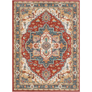 Nicea Rufus Crimson Red and Teal Rectangular: 2 Ft. x 3 Ft. Rug