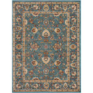 Nicea Flours Teal and Gold Rectangular: 2 Ft. x 3 Ft. Rug