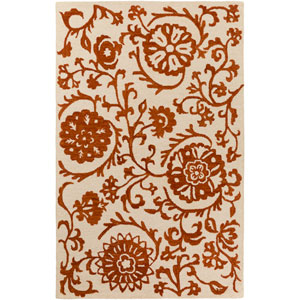 Rhodes Maggie Rust and Off-White Rectangular: 4 Ft. x 6 Ft. Area Rug