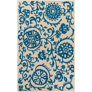 Rhodes Maggie Royal Blue and Off-White Rectangular: 4 Ft. x 6 Ft. Area Rug