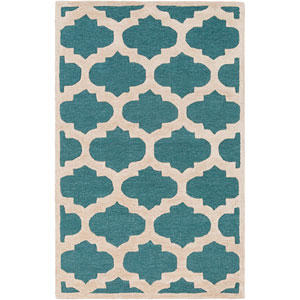 Arise Hadley Teal and Ivory Rectangular: 6 Ft x 9 Ft Rug