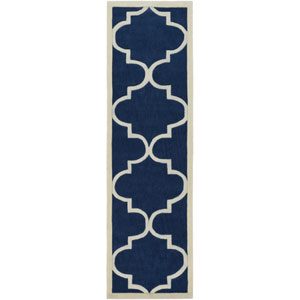 Santorini Harmony Navy and Ivory Runner: 2 Ft. 3-Inch x 8 Ft.