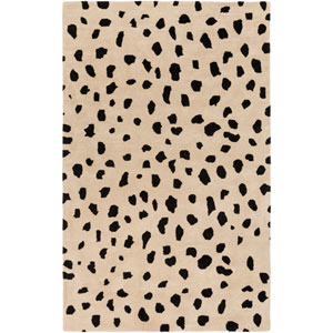 Stella Dalmation Beige and Black Rectangular: 5 Ft. x 7 Ft. 6-Inch Rug