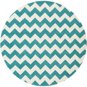 Transit Penelope Teal and Ivory Round: 6 Ft Rug