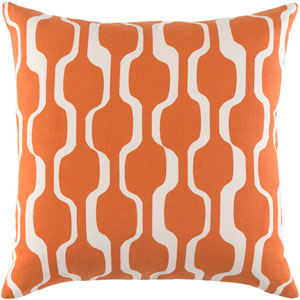 Trudy Vivienne Bright Orange and Ivory 18 x 18 In. Pillow with Down Fill