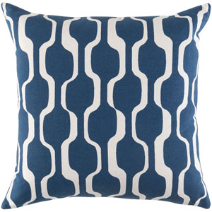 Trudy Vivienne Royal Blue and Ivory 18 x 18 In. Pillow with Poly Fill