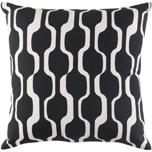 Trudy Vivienne Onyx Black and Ivory 18 x 18 In. Pillow with Down Fill