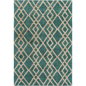Silk Valley Lila Green and Beige Rectangular: 5 Ft x 7 Ft 6 In Rug
