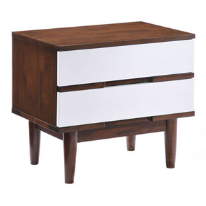 La Night Stand Walnut and White