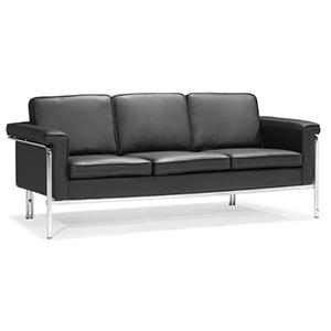 Singular Black and Chromed Steel Sofa