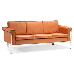 Singular Orange and Chromed Steel Sofa