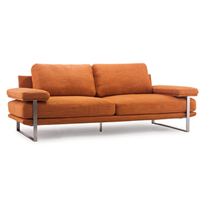 Jonkoping Sunkist Orange and Brushed Stainless Steel Sofa