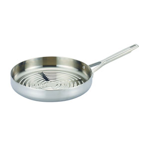 Tri-Ply Clad Stainless Steel Deep Round Grill Pan, 12-Inch Deep