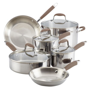 Tri-Ply Bronze Stainless Steel Ten-Piece Cookware Set