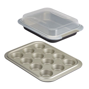Nonstick Bakeware 3-Piece Bakeware Set with Shared Lid