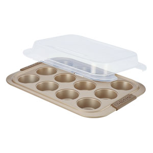 Advanced Bronze Nonstick, 12-Cup Muffin Pan with Silicone Grips