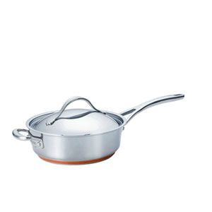 Nouvelle Copper Stainless Steel, 3-Quart Covered Saute with Helper Handle