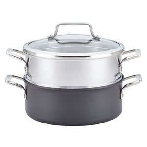 Authority Hard-Anodized Nonstick 5 Qt. Gray Dutch Oven with Steamer Insert
