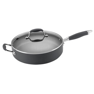 Advanced Hard-Anodized Nonstick, Gray 5-Quart Covered Saute with Helper Handle
