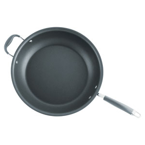 Advanced Hard-Anodized Nonstick, Gray 14-Inch Skillet with Helper Handle