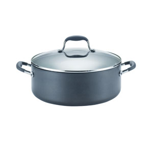 Advanced Hard-Anodized Nonstick, Gray 7-1/2-Quart Covered Wide Stockpot