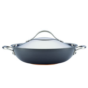 Nouvelle Copper Hard-Anodized Nonstick, Dark Gray 12-Inch Covered Wok