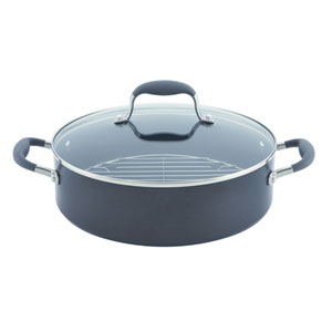 Advanced Hard-Anodized Nonstick, Gray 5-1/2-Quart Covered Braiser with Rack