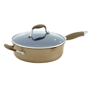 Advanced Bronze Hard-Anodized Nonstick, 4-Quart Covered Saute with Pour Spouts and Helper Handle