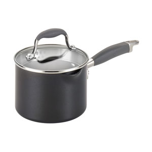 Advanced Hard-Anodized Nonstick, Gray 2-Quart Covered Straining Saucepan with Pour Spouts