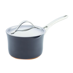 Nouvelle Copper Nonstick, Dark Gray 3-1/2-Quart Covered Straining Saucepan