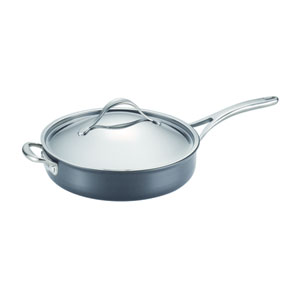 Nouvelle Copper Nonstick, Dark Gray 5-Quart Covered Saute with Helper Handle