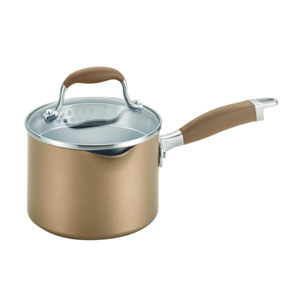 Advanced Bronze Hard-Anodized Nonstick, 2-Quart Covered Straining Saucepan with Pour Spouts