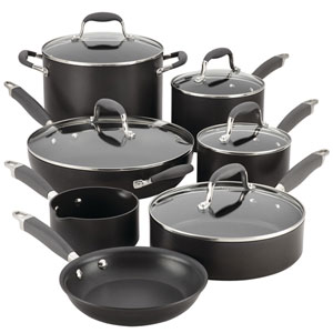 Advanced Gray Hard-Anodized Nonstick 12-Piece Cookware Set