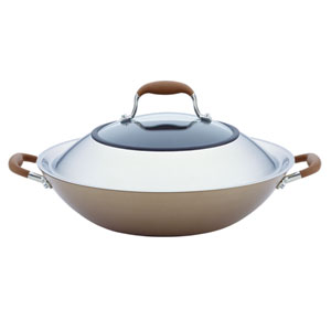 Advanced Bronze Hard-Anodized Nonstick, 14-Inch Covered Wok